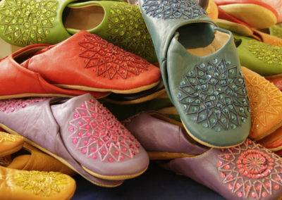 Soft leather slippers with sequins