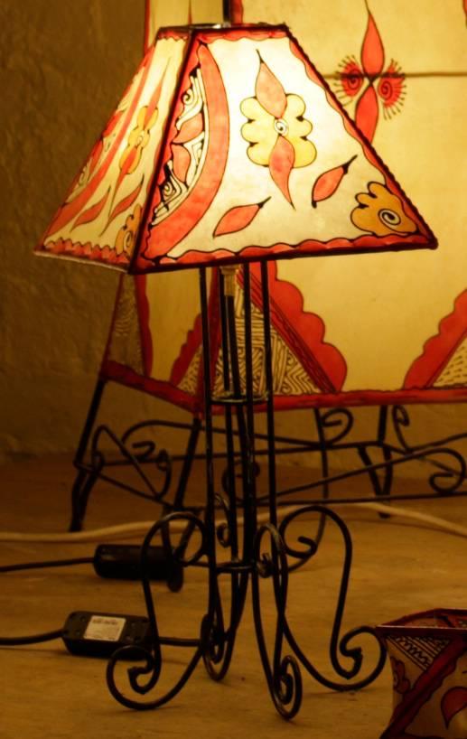 Henna Table Light, Square shade, coloured Henna