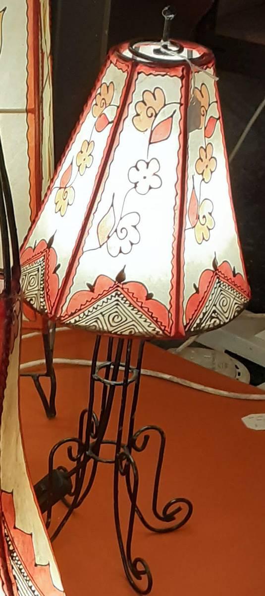 Table Light, hexagonal shade, coloured Henna